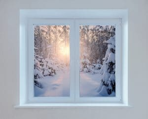 Early morning view of the winter forest from the window.