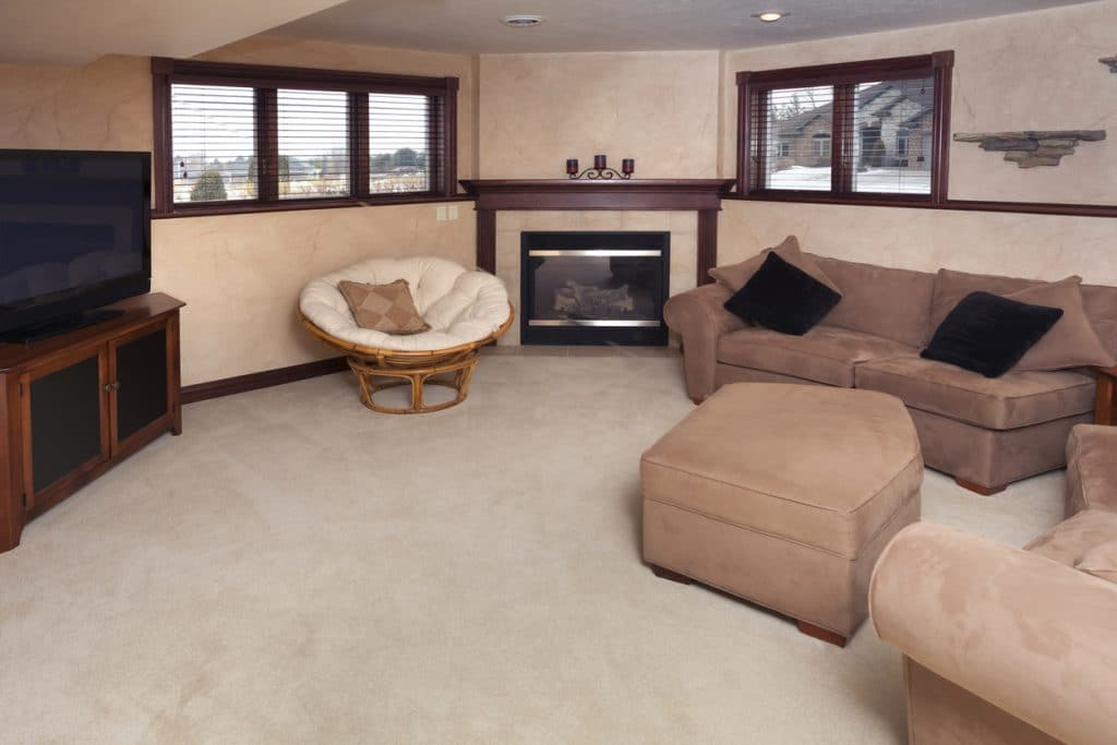 Finished Basement Man Cave with Fireplace, HDTV