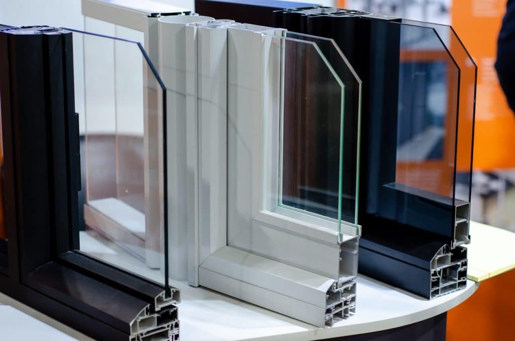 Close-up of metal plastic window construction.
