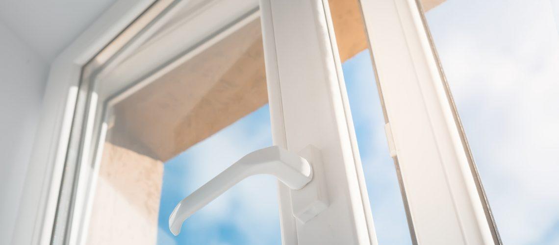 Open window. PVC plastic.